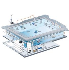 установка системы традиционного бетонного бассейна